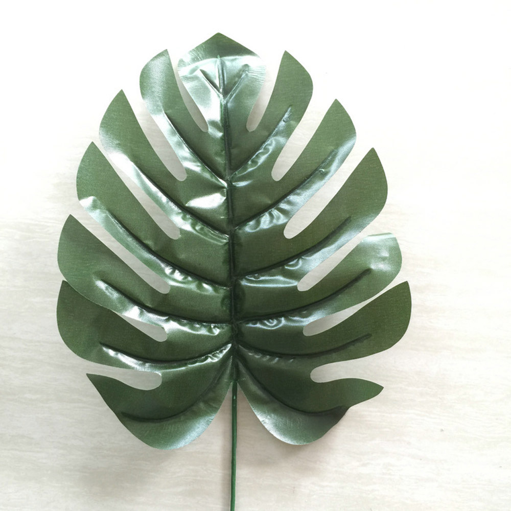 12x large artificial branch palm fern turtle leaf faux for Artificial leaves for decoration