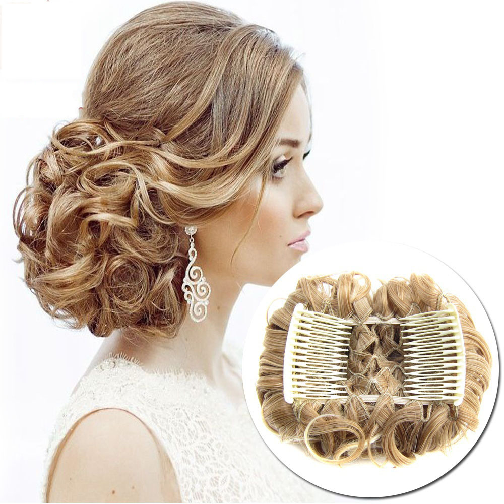 100g women wave curly combs clip in hair bun chignon piece - Chignon original ...